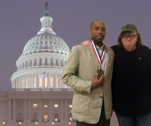 Betrand Olotara with filmmaker Michael Moore