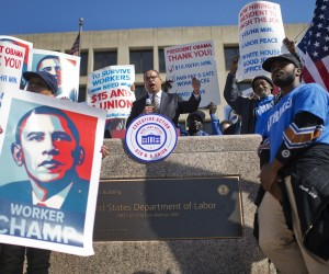 UNITED STATES - APRIL 14: Rep. Keith Ellison, D-Minn., attends a rally with low wage federal contract workers on the steps the Department of Labor to call for the minimum wage be raised to $15 per hour, April 14, 2016. (Photo By Tom Williams/CQ Roll Call)